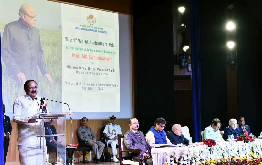 VP coffers Prof. MS Swaminathan with World Agriculture Prize